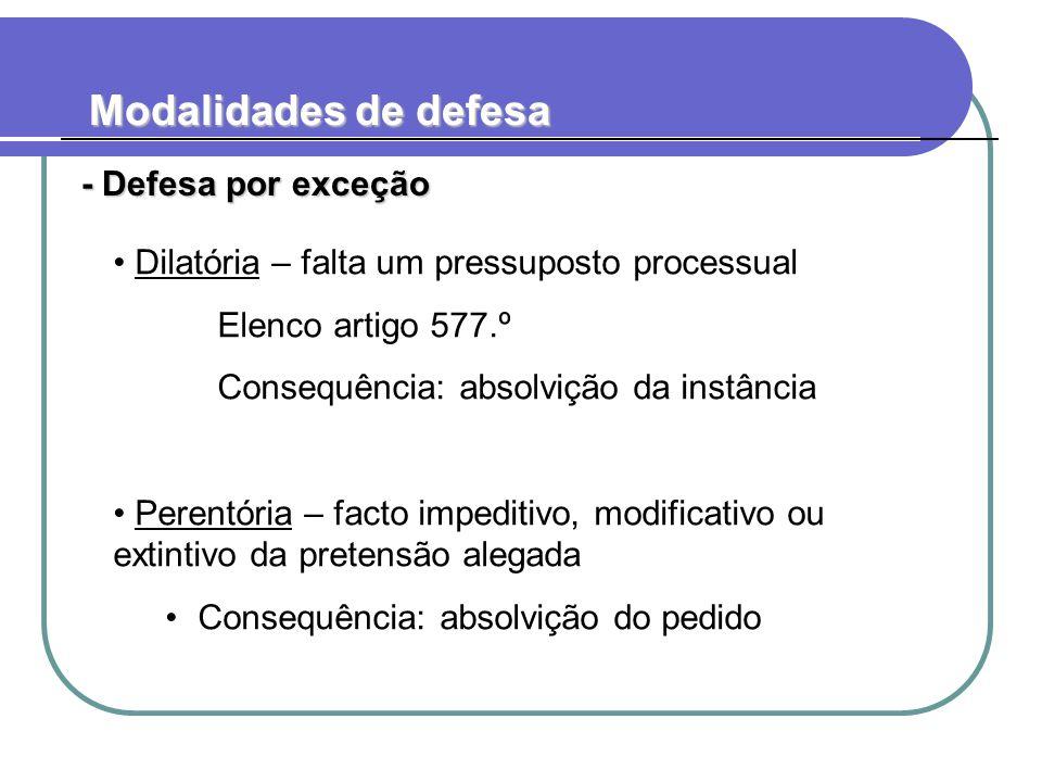 Modalidades de defesa - Defesa por exceção - Defesa por exceção Dilatória – falta um pressuposto processual Elenco artigo 577.º Consequência: absolviç