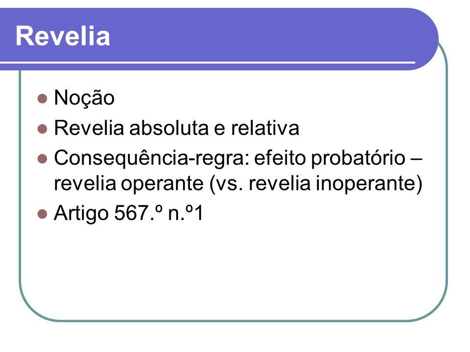Noção Revelia absoluta e relativa Consequência-regra: efeito probatório – revelia operante (vs. revelia inoperante) Artigo 567.º n.º1