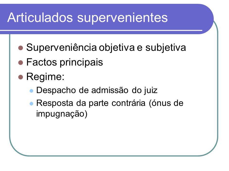 Articulados supervenientes Superveniência objetiva e subjetiva Factos principais Regime: Despacho de admissão do juiz Resposta da parte contrária (ónu