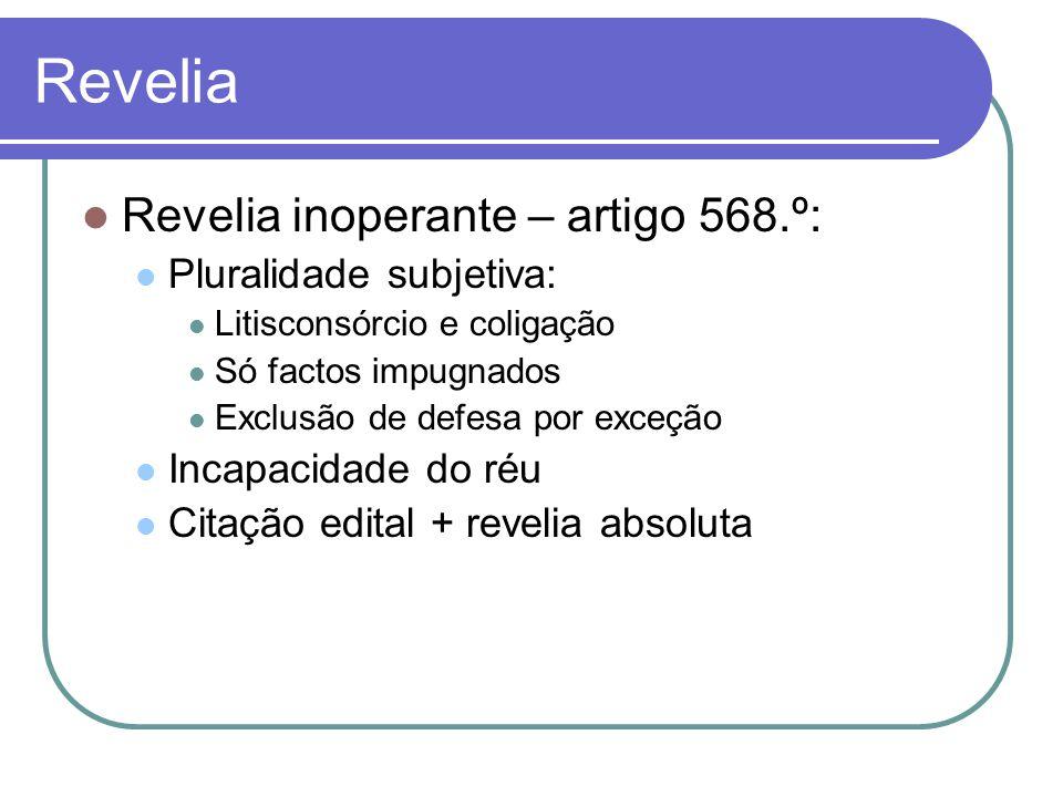 Revelia Revelia inoperante – artigo 568.º: Pluralidade subjetiva: Litisconsórcio e coligação Só factos impugnados Exclusão de defesa por exceção Incap