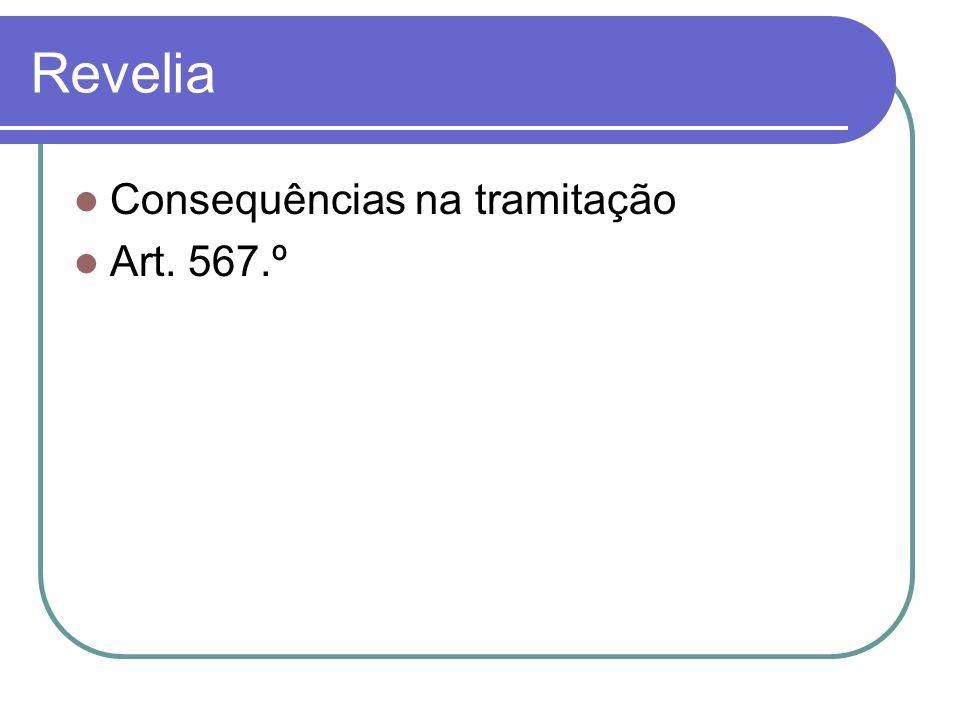 Revelia Consequências na tramitação Art. 567.º