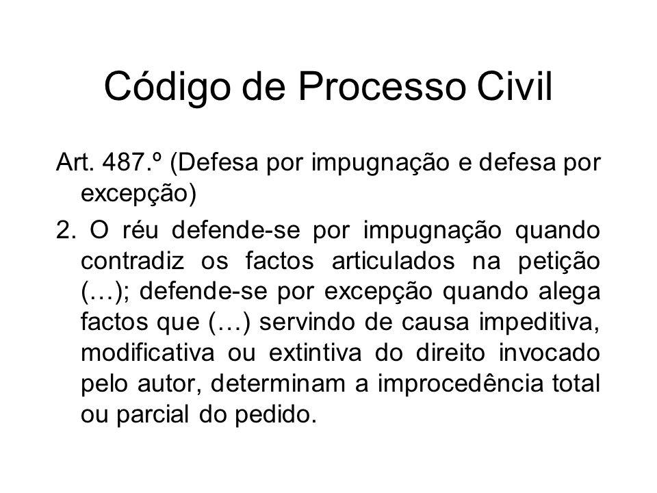 Código de Processo Civil Art. 487.º (Defesa por impugnação e defesa por excepção) 2.