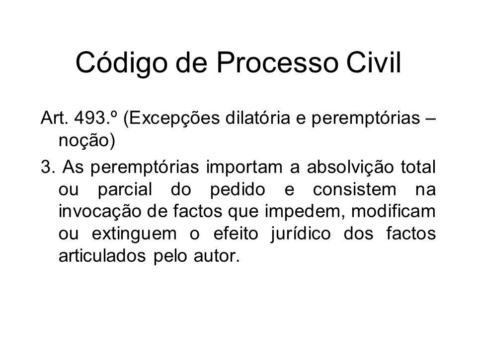 Código de Processo Civil Art. 493.º (Excepções dilatória e peremptórias – noção) 3.