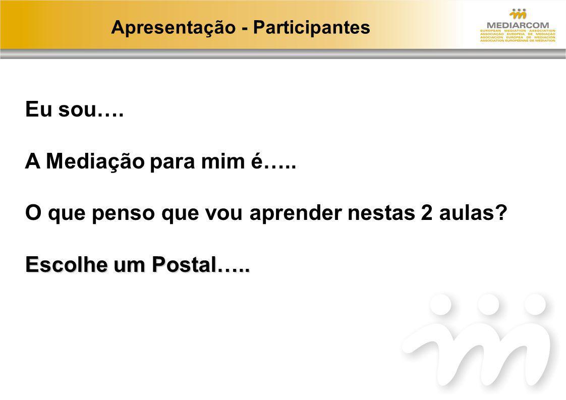 Apresentação - Participantes Eu sou…. A Mediação para mim é….. O que penso que vou aprender nestas 2 aulas? Escolhe um Postal…..