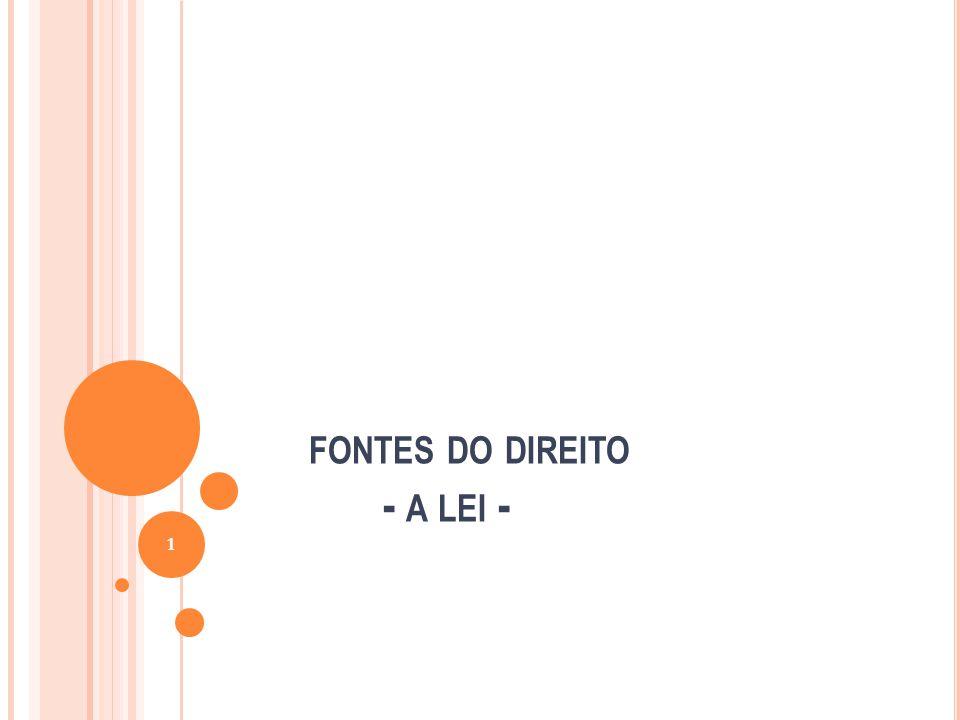 FONTES DO DIREITO - A LEI - 1
