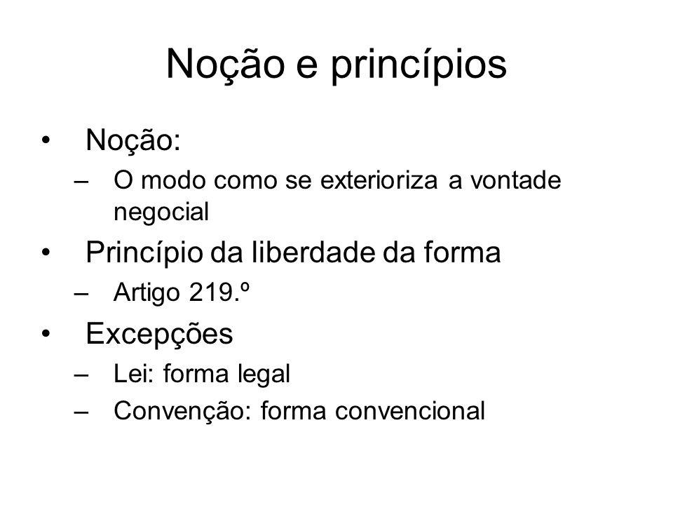 Noção e princípios Noção: –O modo como se exterioriza a vontade negocial Princípio da liberdade da forma –Artigo 219.º Excepções –Lei: forma legal –Convenção: forma convencional