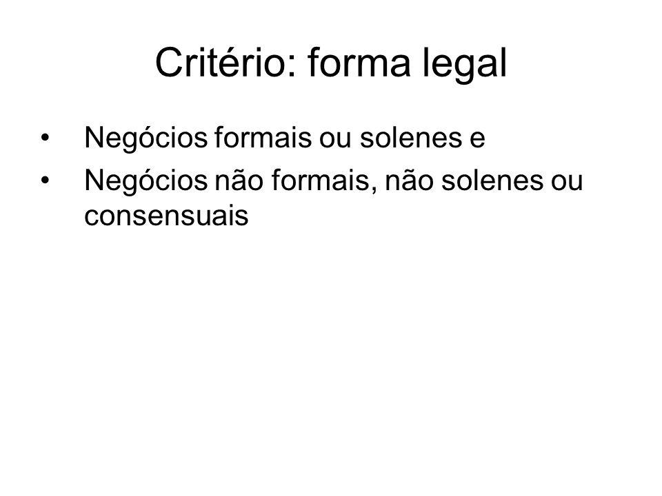 Critério: forma legal Negócios formais ou solenes e Negócios não formais, não solenes ou consensuais