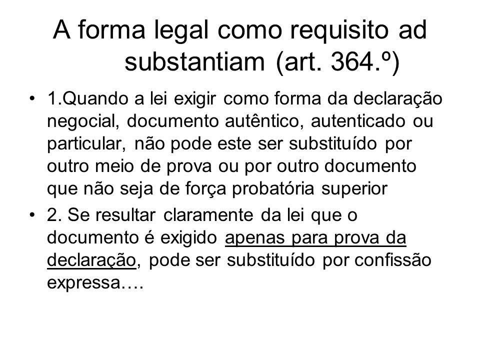 Relevância e âmbito da forma convencional –Negócio não sujeito a forma legal –Art.