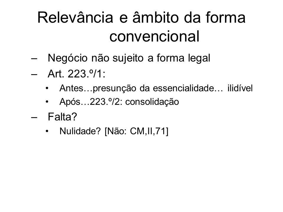 Relevância e âmbito da forma convencional –Negócio não sujeito a forma legal –Art. 223.º/1: Antes…presunção da essencialidade… ilidível Após…223.º/2: