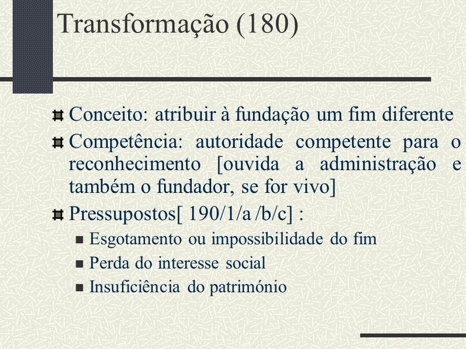Transformação (180) Conceito: atribuir à fundação um fim diferente Competência: autoridade competente para o reconhecimento [ouvida a administração e
