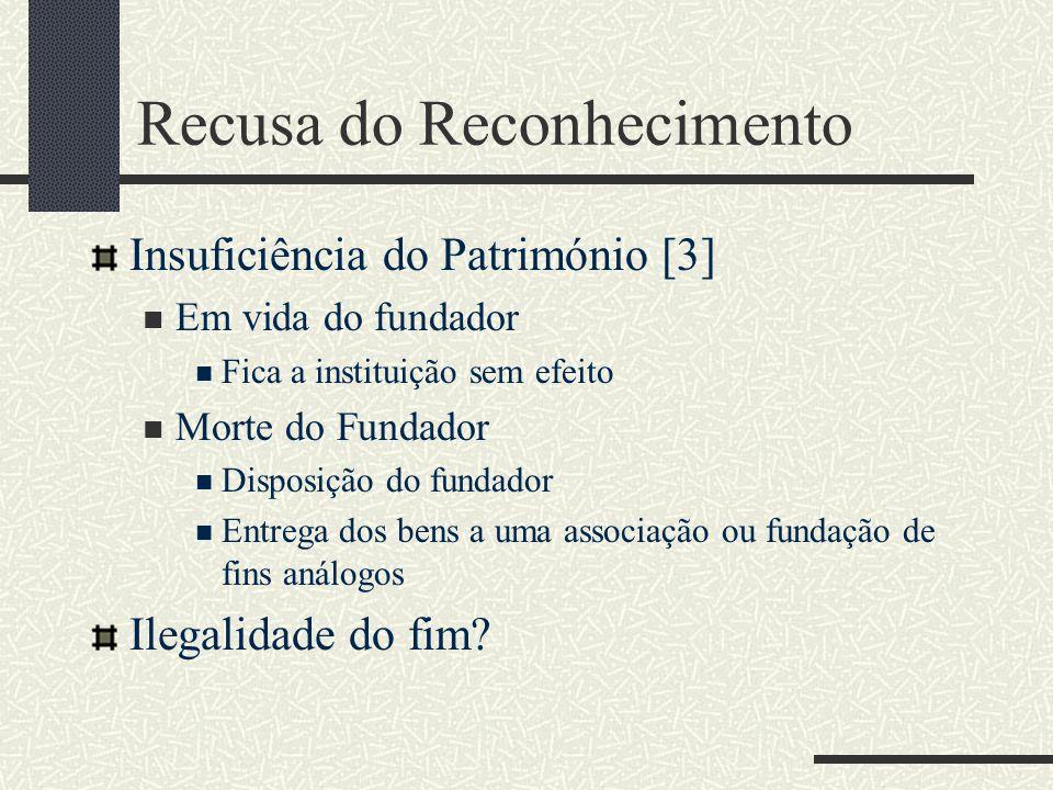 Recusa do Reconhecimento Insuficiência do Património [3] Em vida do fundador Fica a instituição sem efeito Morte do Fundador Disposição do fundador En