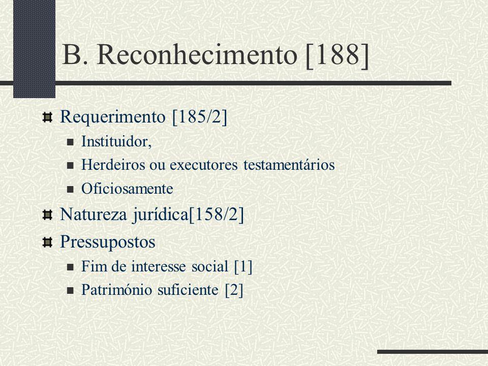 B. Reconhecimento [188] Requerimento [185/2] Instituidor, Herdeiros ou executores testamentários Oficiosamente Natureza jurídica[158/2] Pressupostos F