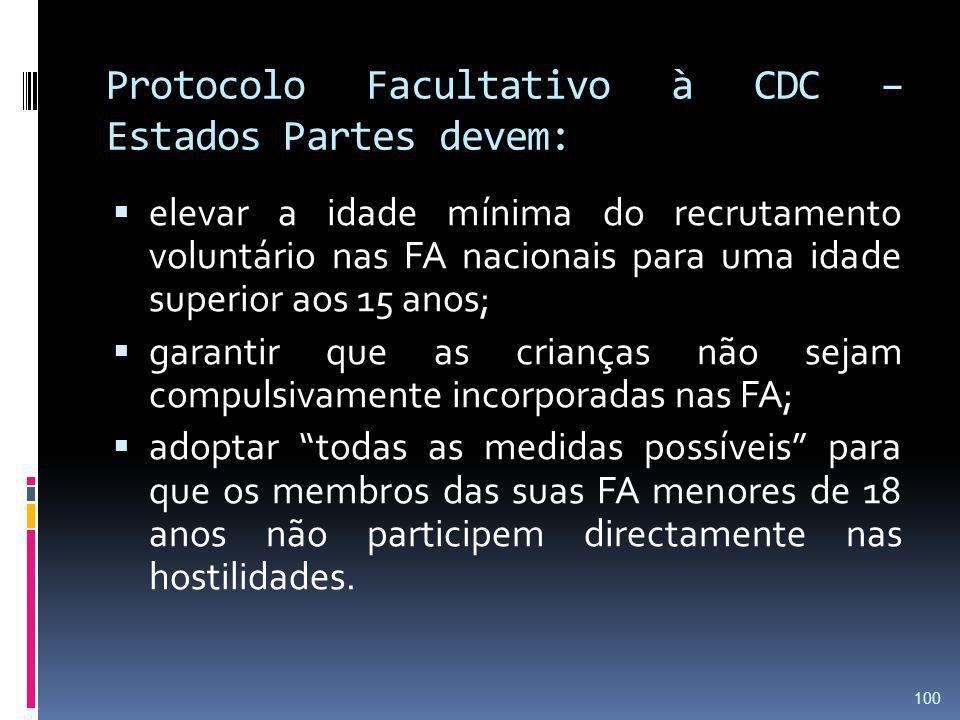 Protocolo Facultativo à CDC – Estados Partes devem: elevar a idade mínima do recrutamento voluntário nas FA nacionais para uma idade superior aos 15 a