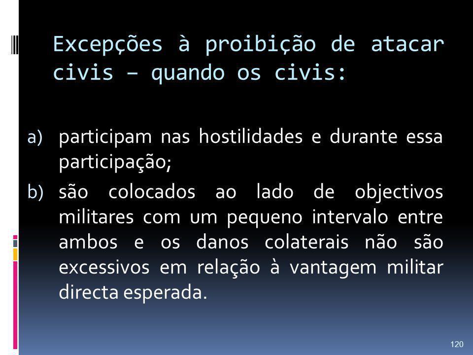 Excepções à proibição de atacar civis – quando os civis: a) participam nas hostilidades e durante essa participação; b) são colocados ao lado de objec