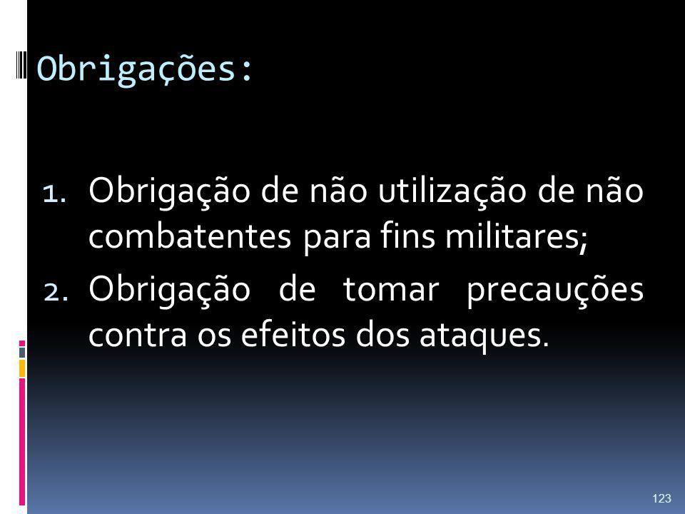 Obrigações: 1. Obrigação de não utilização de não combatentes para fins militares; 2. Obrigação de tomar precauções contra os efeitos dos ataques. 123