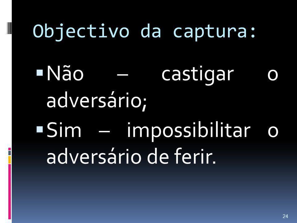 Objectivo da captura: Não – castigar o adversário; Sim – impossibilitar o adversário de ferir. 24