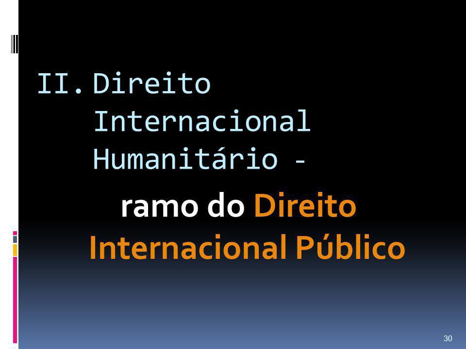 II.Direito Internacional Humanitário - ramo do Direito Internacional Público 30
