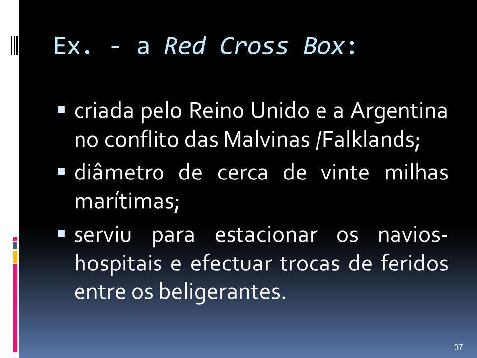 Ex. - a Red Cross Box: criada pelo Reino Unido e a Argentina no conflito das Malvinas /Falklands; diâmetro de cerca de vinte milhas marítimas; serviu
