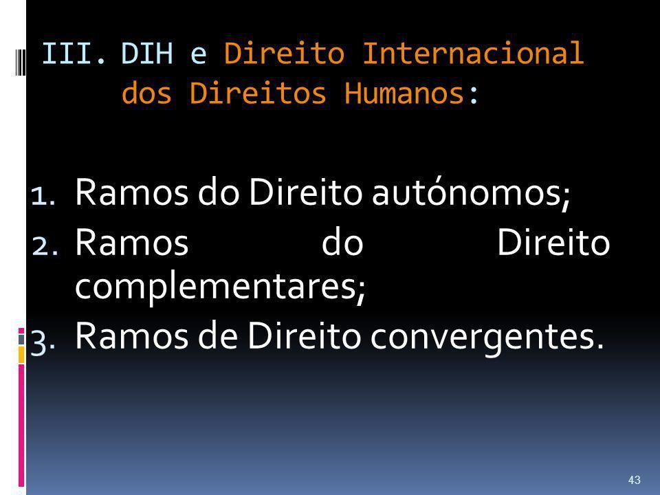 III.DIH e Direito Internacional dos Direitos Humanos: 1. Ramos do Direito autónomos; 2. Ramos do Direito complementares; 3. Ramos de Direito convergen