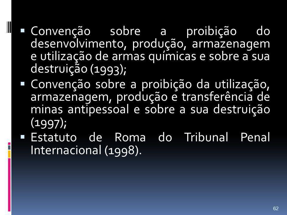 Convenção sobre a proibição do desenvolvimento, produção, armazenagem e utilização de armas químicas e sobre a sua destruição (1993); Convenção sobre