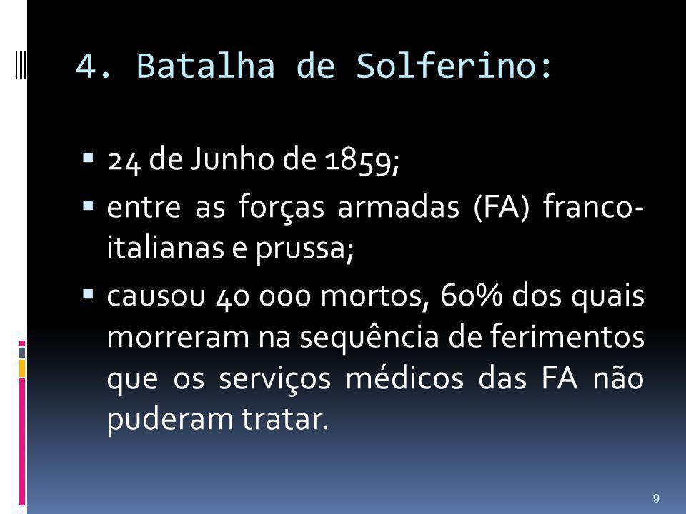 4. Batalha de Solferino: 24 de Junho de 1859; entre as forças armadas (FA) franco- italianas e prussa; causou 40 000 mortos, 60% dos quais morreram na