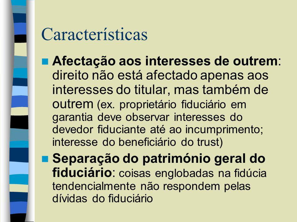 Características Afectação aos interesses de outrem: direito não está afectado apenas aos interesses do titular, mas também de outrem (ex.
