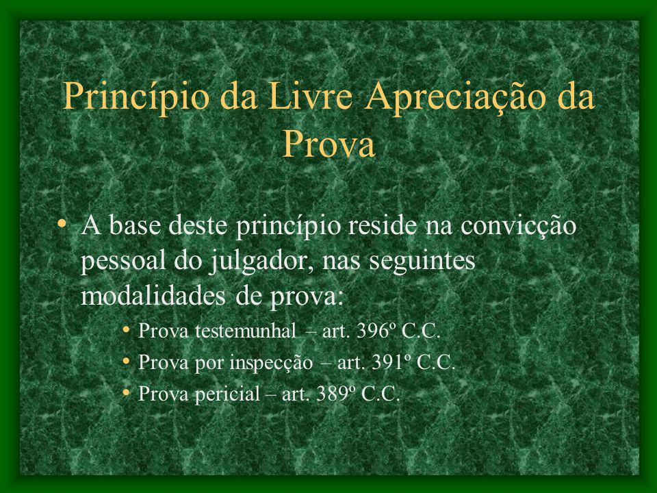 Princípio da Livre Apreciação da Prova A base deste princípio reside na convicção pessoal do julgador, nas seguintes modalidades de prova: Prova testemunhal – art.