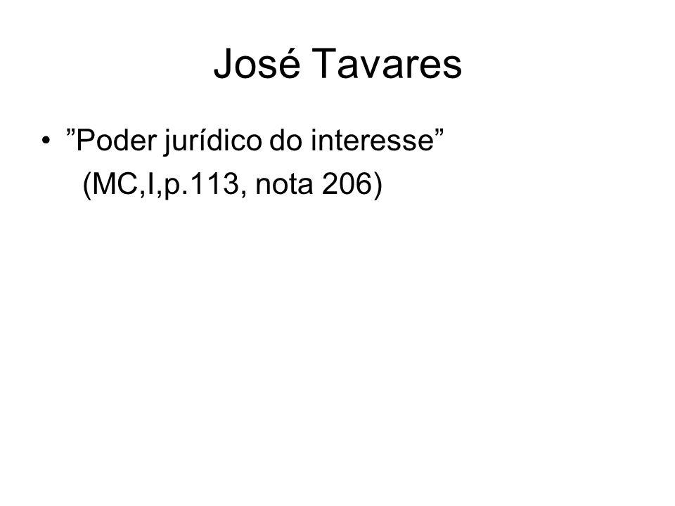 José Tavares Poder jurídico do interesse (MC,I,p.113, nota 206)