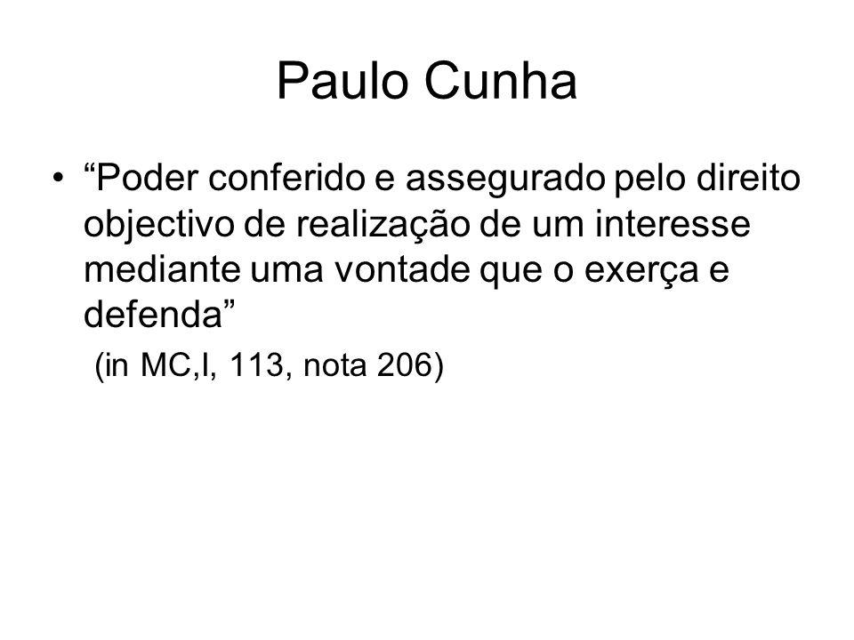 Paulo Cunha Poder conferido e assegurado pelo direito objectivo de realização de um interesse mediante uma vontade que o exerça e defenda (in MC,I, 11