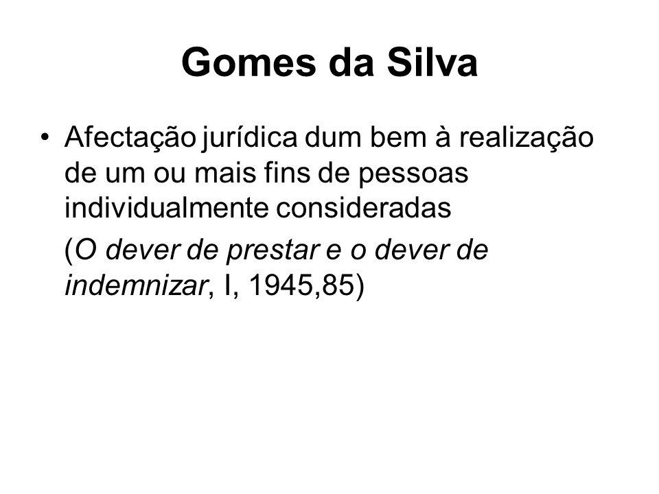 Gomes da Silva Afectação jurídica dum bem à realização de um ou mais fins de pessoas individualmente consideradas (O dever de prestar e o dever de indemnizar, I, 1945,85)