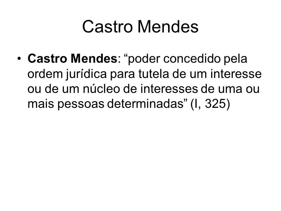 Castro Mendes Castro Mendes: poder concedido pela ordem jurídica para tutela de um interesse ou de um núcleo de interesses de uma ou mais pessoas determinadas (I, 325)