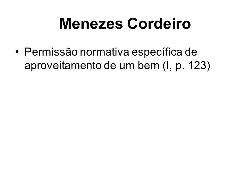 Menezes Cordeiro Permissão normativa específica de aproveitamento de um bem (I, p. 123)