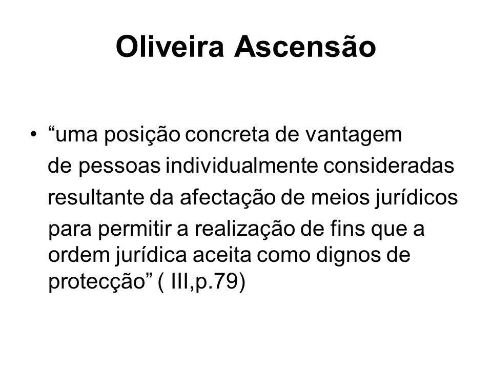 Oliveira Ascensão uma posição concreta de vantagem de pessoas individualmente consideradas resultante da afectação de meios jurídicos para permitir a realização de fins que a ordem jurídica aceita como dignos de protecção ( III,p.79)