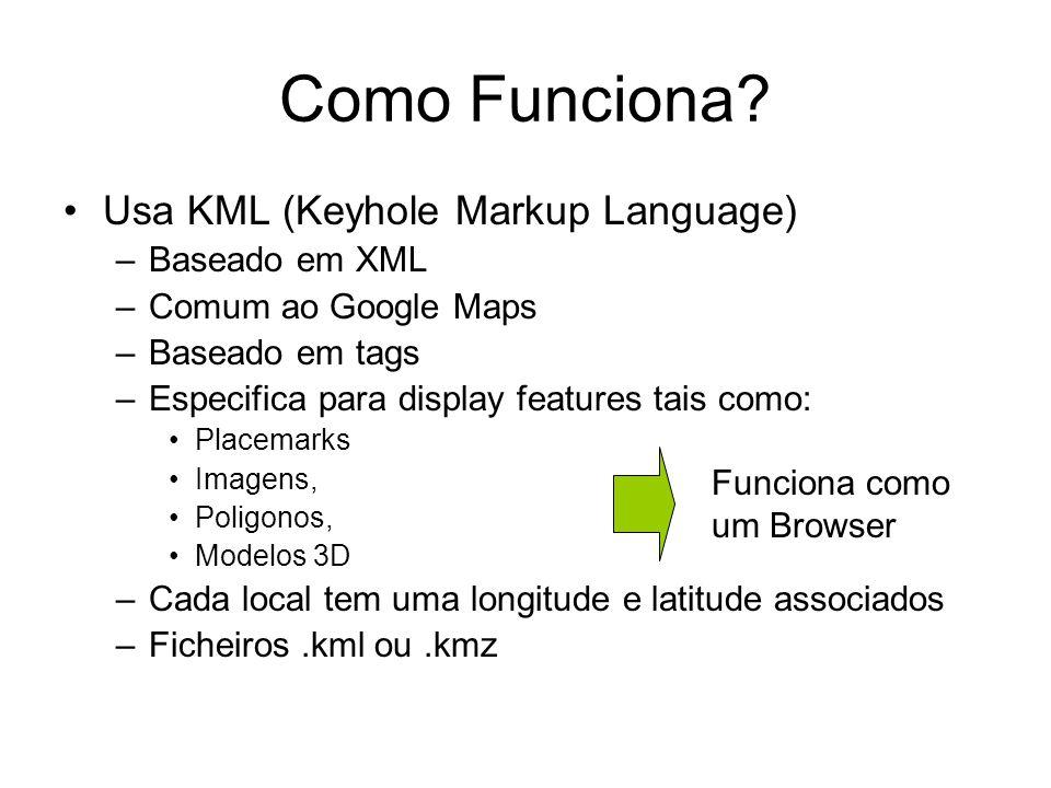 Como Funciona? Usa KML (Keyhole Markup Language) –Baseado em XML –Comum ao Google Maps –Baseado em tags –Especifica para display features tais como: P