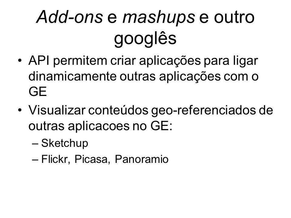 Add-ons e mashups e outro googlês API permitem criar aplicações para ligar dinamicamente outras aplicações com o GE Visualizar conteúdos geo-referenciados de outras aplicacoes no GE: –Sketchup –Flickr, Picasa, Panoramio