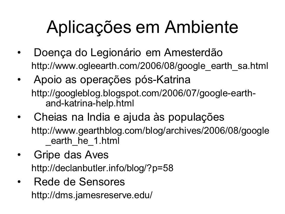 Aplicações em Ambiente Doença do Legionário em Amesterdão http://www.ogleearth.com/2006/08/google_earth_sa.html Apoio as operações pós-Katrina http://googleblog.blogspot.com/2006/07/google-earth- and-katrina-help.html Cheias na India e ajuda às populações http://www.gearthblog.com/blog/archives/2006/08/google _earth_he_1.html Gripe das Aves http://declanbutler.info/blog/ p=58 Rede de Sensores http://dms.jamesreserve.edu/