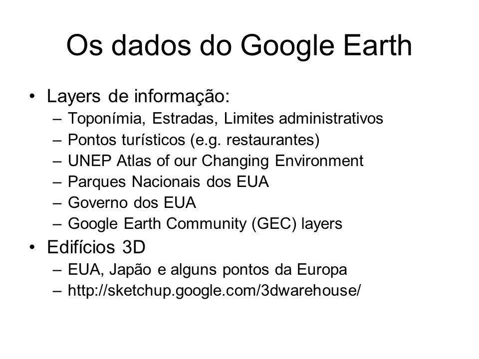 Os dados do Google Earth Layers de informação: –Toponímia, Estradas, Limites administrativos –Pontos turísticos (e.g. restaurantes) –UNEP Atlas of our