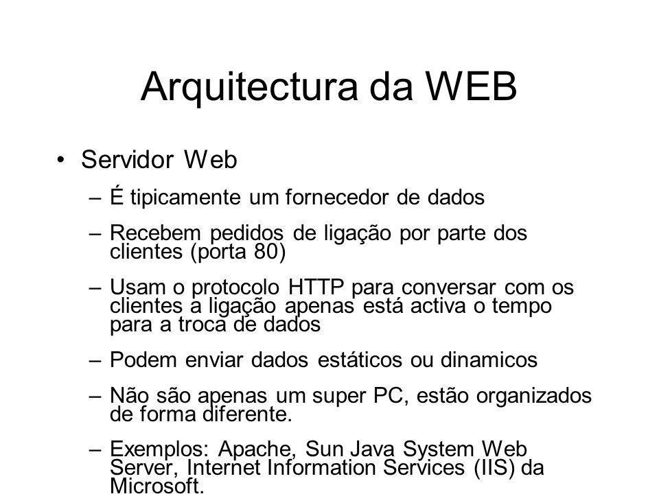Arquitectura da WEB Servidor Web –É tipicamente um fornecedor de dados –Recebem pedidos de ligação por parte dos clientes (porta 80) –Usam o protocolo