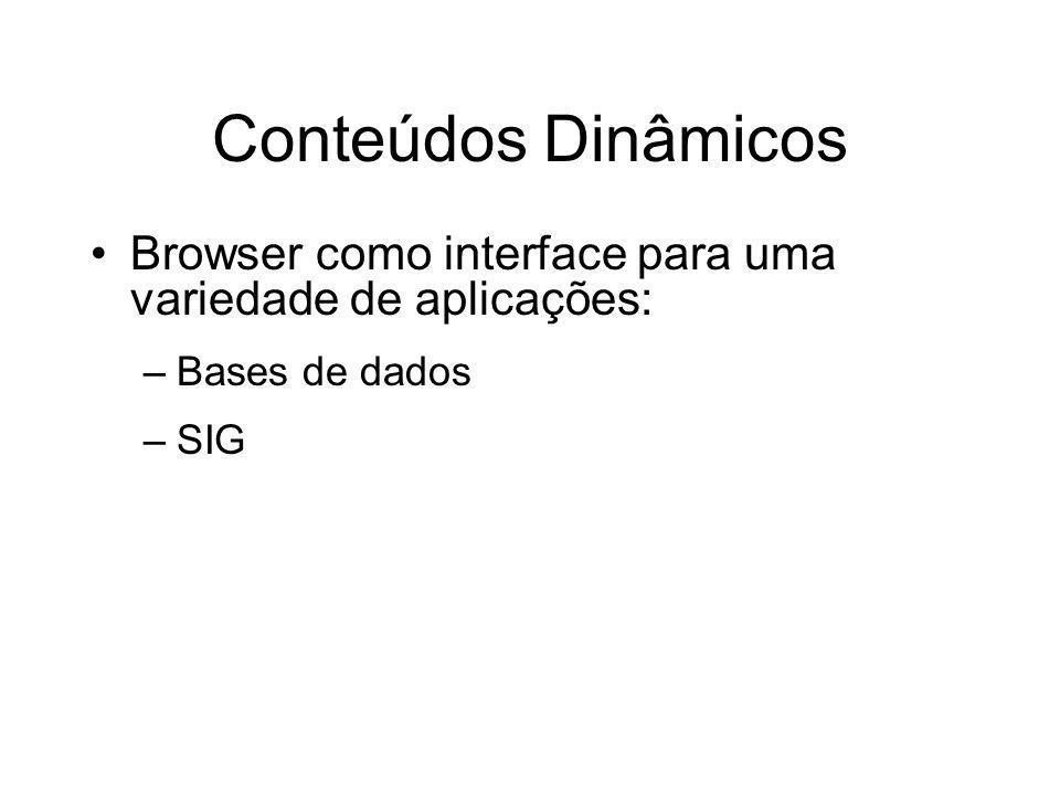 Conteúdos Dinâmicos Browser como interface para uma variedade de aplicações: –Bases de dados –SIG