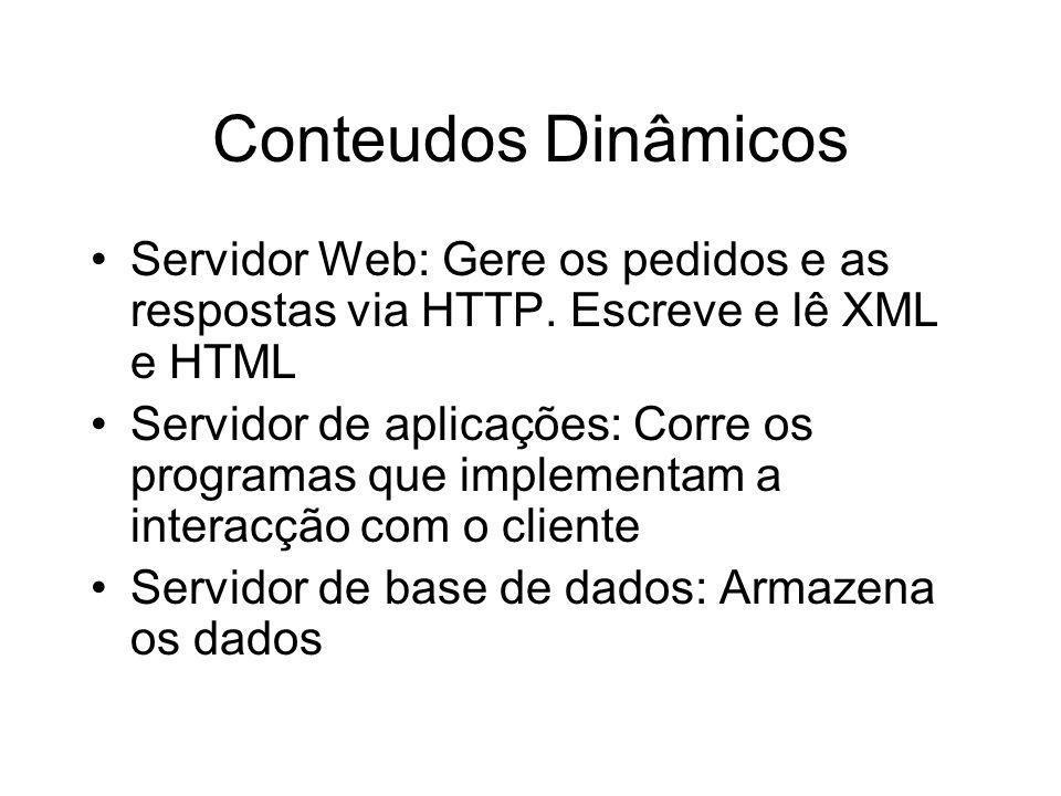 Conteudos Dinâmicos Servidor Web: Gere os pedidos e as respostas via HTTP. Escreve e lê XML e HTML Servidor de aplicações: Corre os programas que impl