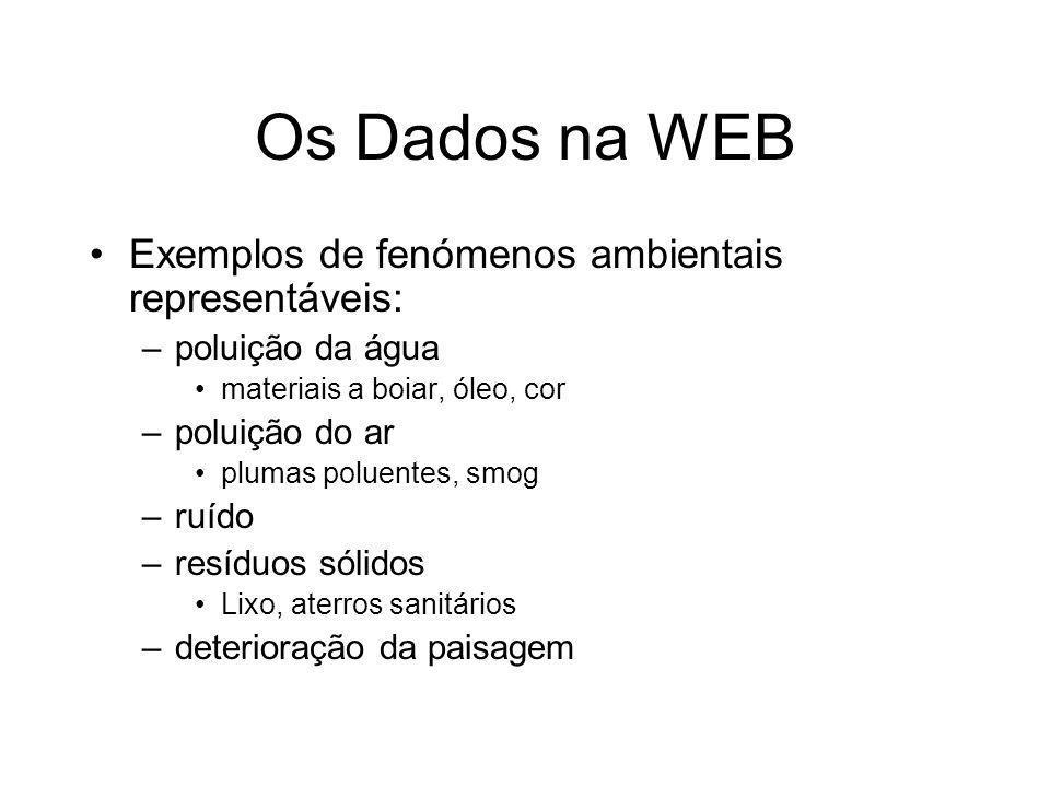 Os Dados na WEB Exemplos de fenómenos ambientais representáveis: –poluição da água materiais a boiar, óleo, cor –poluição do ar plumas poluentes, smog