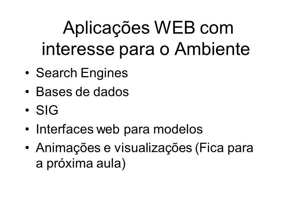 Aplicações WEB com interesse para o Ambiente Search Engines Bases de dados SIG Interfaces web para modelos Animações e visualizações (Fica para a próx