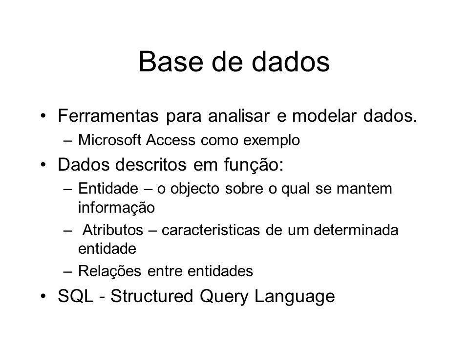 Base de dados Ferramentas para analisar e modelar dados. –Microsoft Access como exemplo Dados descritos em função: –Entidade – o objecto sobre o qual