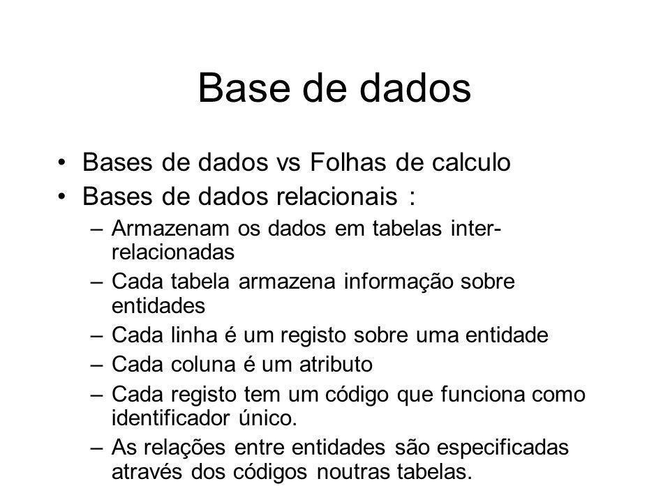 Base de dados Bases de dados vs Folhas de calculo Bases de dados relacionais : –Armazenam os dados em tabelas inter- relacionadas –Cada tabela armazen