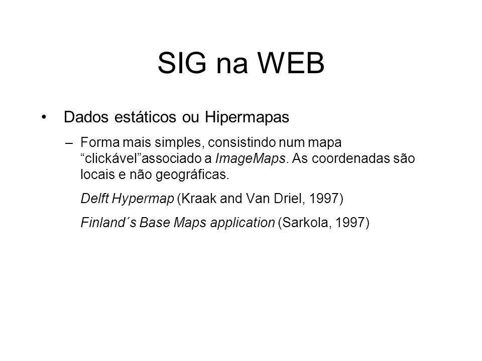 SIG na WEB Dados estáticos ou Hipermapas –Forma mais simples, consistindo num mapa clickávelassociado a ImageMaps. As coordenadas são locais e não geo