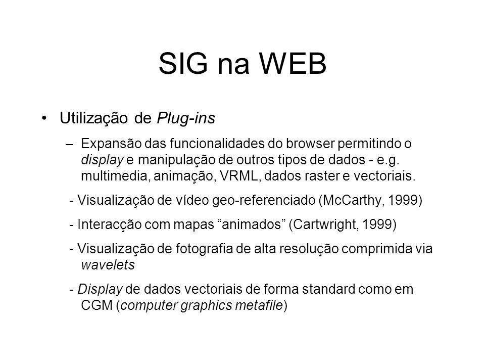 SIG na WEB Utilização de Plug-ins –Expansão das funcionalidades do browser permitindo o display e manipulação de outros tipos de dados - e.g. multimed