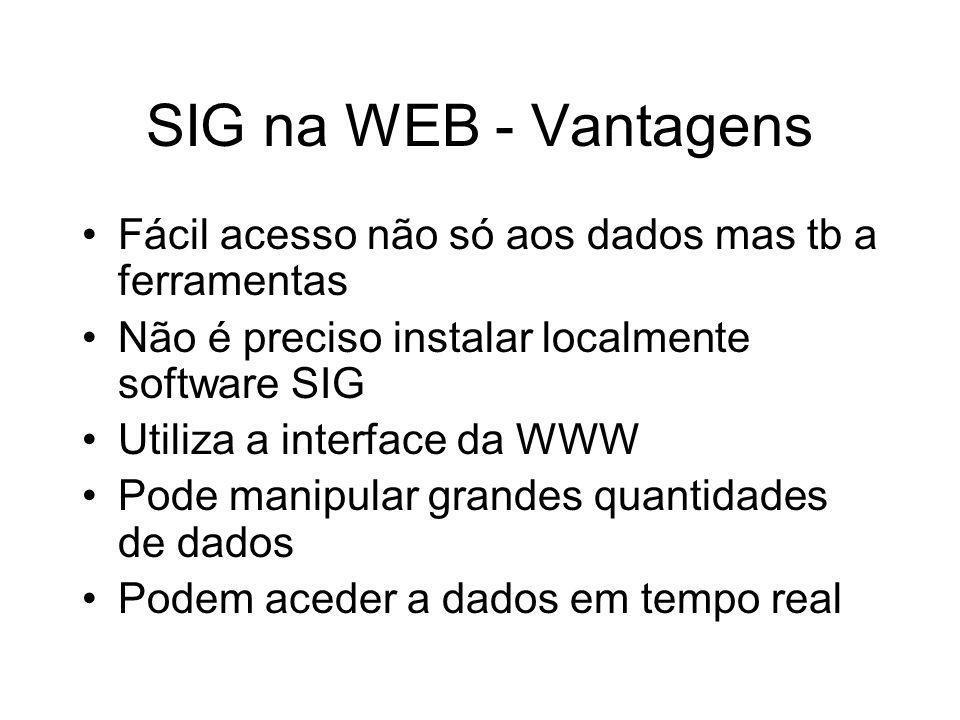 SIG na WEB - Vantagens Fácil acesso não só aos dados mas tb a ferramentas Não é preciso instalar localmente software SIG Utiliza a interface da WWW Po