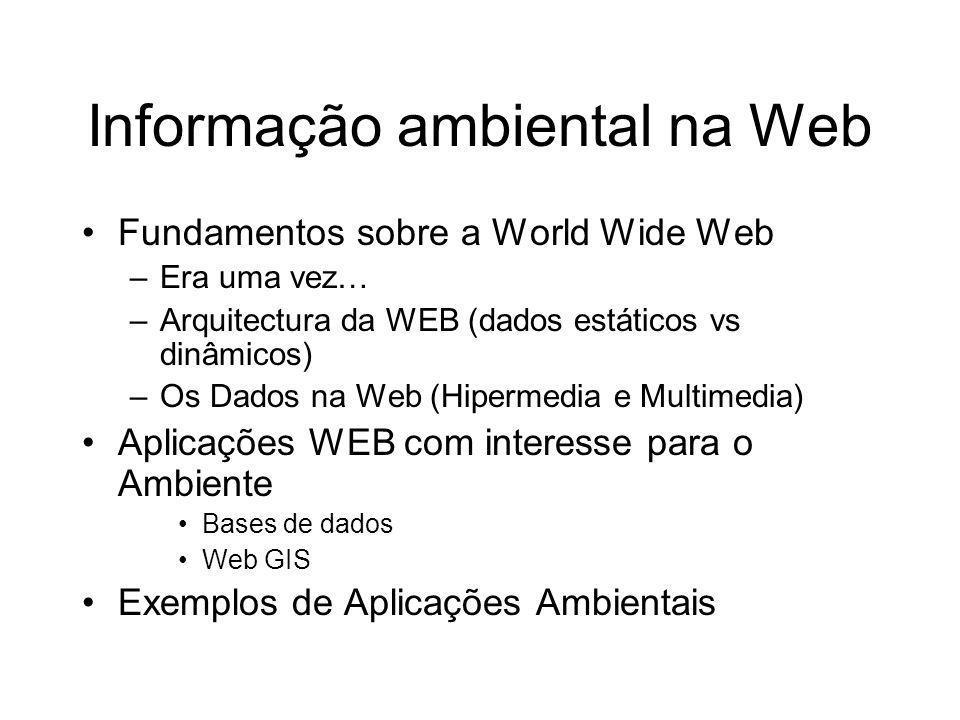 Informação ambiental na Web Fundamentos sobre a World Wide Web –Era uma vez… –Arquitectura da WEB (dados estáticos vs dinâmicos) –Os Dados na Web (Hip