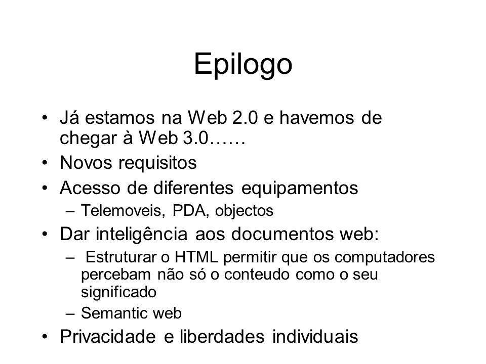 Epilogo Já estamos na Web 2.0 e havemos de chegar à Web 3.0…… Novos requisitos Acesso de diferentes equipamentos –Telemoveis, PDA, objectos Dar inteli