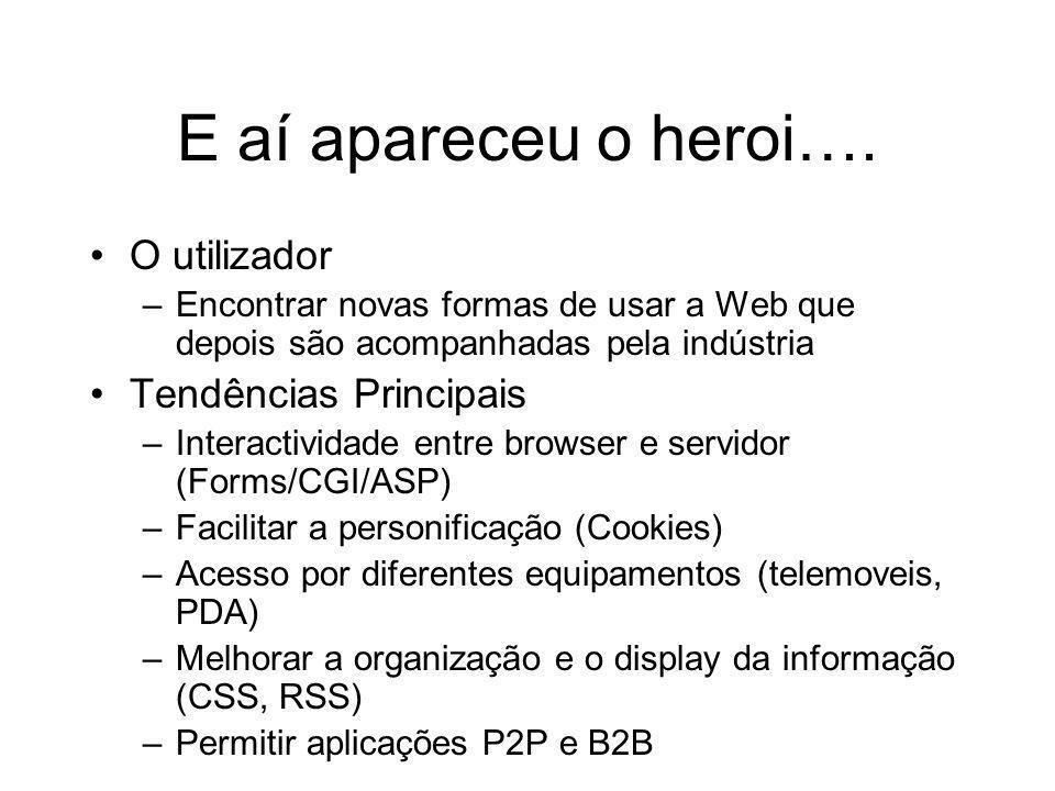 E aí apareceu o heroi…. O utilizador –Encontrar novas formas de usar a Web que depois são acompanhadas pela indústria Tendências Principais –Interacti